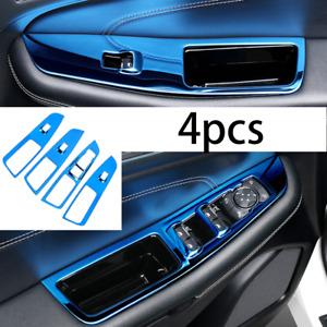 Fit For Ford Edge 18-20 Window Door Lock Control Switch Trim Steel Blue Titanium