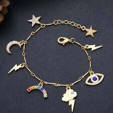 Bracelet  Doré Charms Etoile Lune Foudre Yeux Bleu Fin Cristal Class Retro CT8