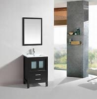 24 inch Belvedere Modern Freestanding Espresso Bathroom Vanity w/ ceramic top