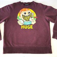 The Hundreds Crewneck Sweater Burgundy Men's Size Large Huge Graphic Bomb Design
