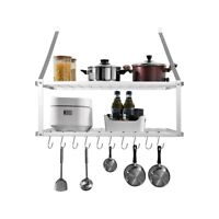 Kitchen Pot Pan Rack Shelf Utensils Cookware Hanger Holder With Hooks Wall Mount