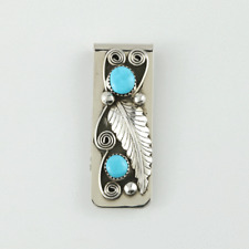 NATIVE AMERICAN NAVAJO TURQUOISE & SILVER MONEY CLIP