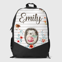 Personalised Cute Hedgehog Woodland Girls Kids Children's School Bag Backpack
