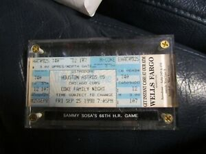 Sept 28, 1998 Astro Vs Cubs Sammy Sosa 66th Home Run Ticket Encapsulated