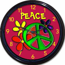 Peace Sign Flower Child Hippie Wall Clock Flowers Symbo lGirl Teen Bedroom New