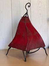 Lampe Oriental Henné Marocaine Lampe en Cuir Lampe de Table Rouge 35cm