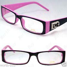 New Womens DG Clear Lens Frame Eye Glasses Rectangular Fashion 2 Tone Ladys Oval