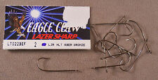 Bass Fishing Hook, 1 Pack Of 10 Eagle Claw, # 2 Bronze Aberdeen Twist Lock