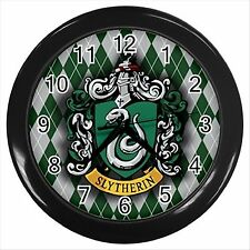 NEW* HARRY POTTER SLYTHERIN HOGWARTS SCHOOL Round Black Wall Clock Decor Gift