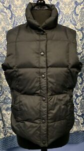 LANDS' END M Medium 10-12 Black Nylon Goose Down Puffer Vest EUC