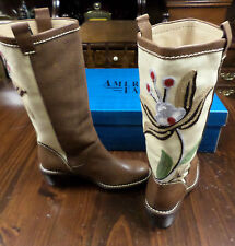 Leather Boots-6.5 M-American Eagle-Brown-13 in-Canvas/Crewel Embroidery-New-$210