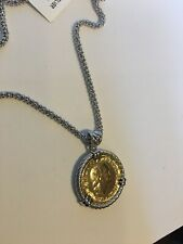 Sterling Silver Genuine 200 Lira Coin Necklace Chain 18''  Italy nwt