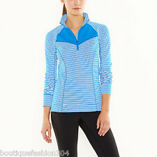 NWT Womens Lucy Activewear S Top Blue White Stripe Run Long Sleeves Thumbholes