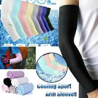 2PCS UV Sun Protection Arm Cooling Sleeves Gloves Golf Cycling Sport Cover US