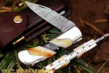 "SALE DKC-60 SILVER SCOTCH Damascus Folding Pocket Knife 4.2"" Folded 7.5"" Long 6."