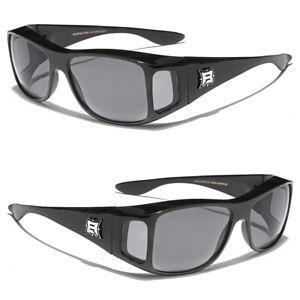 Sunglasses Fit Over Prescription Eye Glasses Black Smoke Lens Driving Goggles
