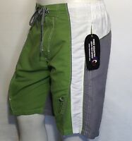 Mens Shorts Swimwear Trunk Swimming FREE COUNTRY Surf Beach Vacation GREEN WHITE