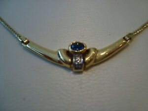 Goldcollier 333 mit Safir und Diamanten -5 Gramm
