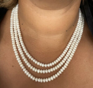 Vintage 3 Strand Freshwater Pearl Necklace