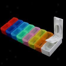 7 Days Week Medicine Tablet Storage Box Weekly Organizer Case w/ Pill Cutter