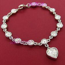 Womens Grils 18k White Gold GF Swarovski Crystal Wedding Party Bracelet Bangle