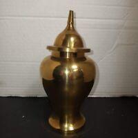Vintage Solid Brass Urn Vase Ginger Jar With Lid