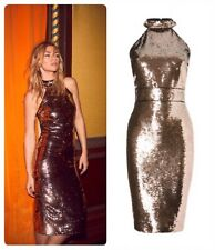 ABBEY CLANCY X LIPSY Black GOLD SEQUIN HALTERNECK PARTY DRESS UK12 40 RRP£75