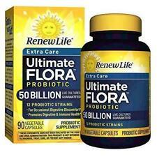 Renew Life Extra Care Ultimate Flora Probiotic 50 Billion, 90 Caps New 1/2021