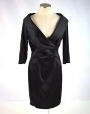 KAY UNGER Black Silky Shiny V Neck Ruched 3/4 Sleeve Shirt Cocktail Dress Sz 14