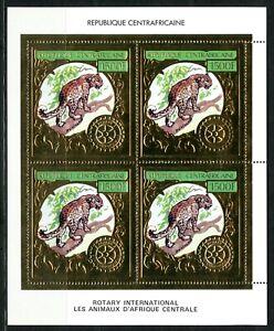 Centre Afrique ROTARY Faune Leopard Panthère Gold Foil Or MICHEL 819 A cote 60e