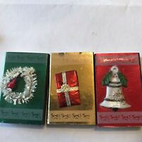 Vintage Christmas Matches 50s Holiday Foil Matchbox with Wooden Matches 3 Boxes