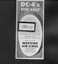 WESTERN AIR LINES 1950'S FOR SALE DOUGLAS DC-4 SKYMASTERS LAX AIRPORT AD