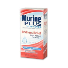 4 Pack Murine Plus Eye Drops Redness Relief For Dry Eyes, 0.5 oz each
