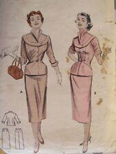 VTG 54 BUTTERICK 6924 MS 2-pc Dress w Shaped Band Jacket & Skirt PATTERN 14/32B
