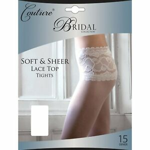 Couture Ivory Soft & Sheer Lace Top Bridal Collection Tights 3 Sizes U Choose