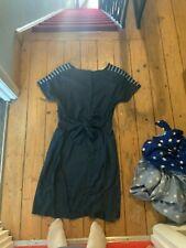 monsoon denim dress size 12-14 (dark blue) (navy) tie waist