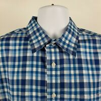 Jos A Bank Traveler Collection Blue Plaid Check L/S Dress Button Shirt Sz XL