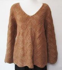 St John Tan Sweater Textured Wool Blend Rust Brown Womens L