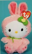 "Ty Beanie Baby Hello Kitty Plush - Pink bunny costume Easter Bunny 6"" 16cm New"