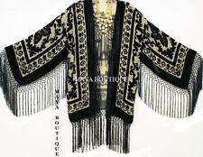 Maya Matazaro Silk Burnout Velvet Fringe Jacket Kimono Bolero Beige & Black