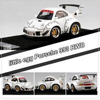 little egg 1:64 Scale Porsche 993 RWB RAUH-Welt Q Car Model White Limited w/Base