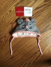 New Hanna Andersson Childrens Hat Warm Critter Mouse Gray Pink XXS 0-3 Months