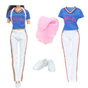 Gym Sports Outfits + White Shoes + Backpack Clothes set for 12 in. Girl Doll Toy