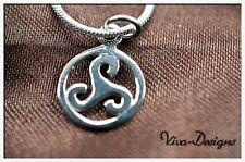 925 Sterling Silver Openwork Celtic Spiral Triskele Charm with Chain