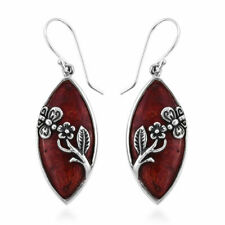 STERLING SILVER SPIDER WEB DESIGN BLACK CORAL SHELL SEA LIFE DANGLING EARRINGS