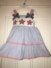 Good Lad Blue Red white Seersucker Nautical Patriotic Star Dress Sz 18m