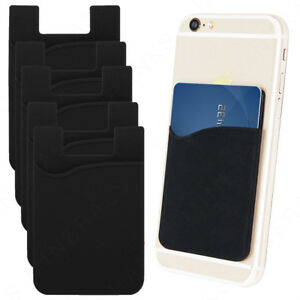 5x Silicone Credit Card Holder Cell Phone Wallet Pocket Sticker Adhesive_Black.