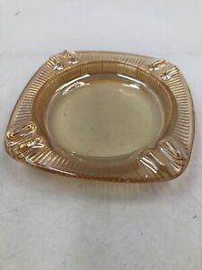 VINTAGE CARNIVAL GLASS ASHTRAY MARIGOLD YELLOW COLOR ~ 4""