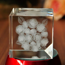 3D Laser Etched Crystal Rose Paperweight Beauty Home Decor Mothers Day Gift
