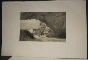 LEVUKA A CAVE FIJI ISLANDS 1841 DUMONT D'URVILLE ANTIQUE LITHOGRAPHIC VIEW